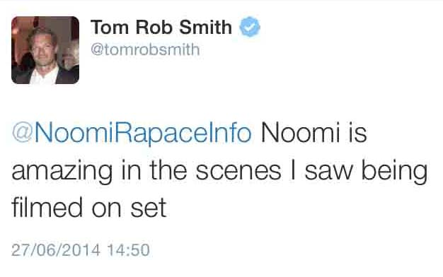 Child 44 – Author Tom Rob Smith's thoughts on Noomi's scenes that he saw during filming + Updated Release Dates